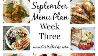 September Menu Plan: Week Three