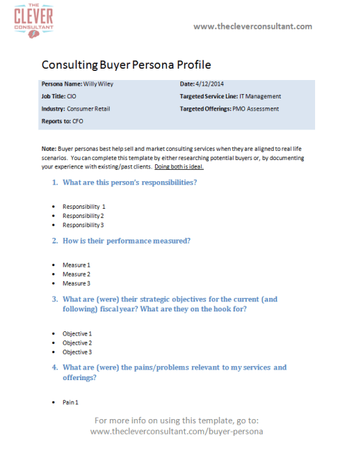 Consulting Buyer Persona Template