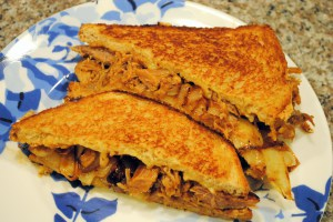 Pulled Pork Grilled Cheese with Caramelized Onions