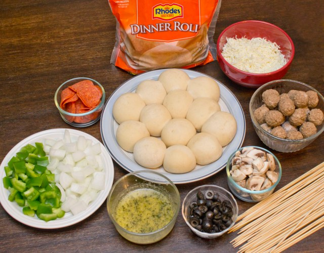 ingredients for supreme pizza kabobs