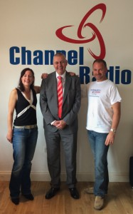 Laura Burton-Lawrence, Roland Gooding OBE, Russell Burton-Lawrence in the Channel Radio studio