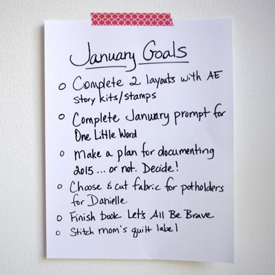 A list of January creative goals