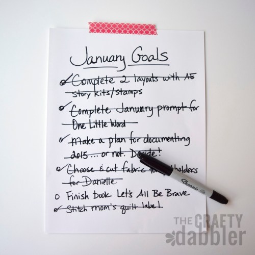A list of January Goals and items crossed off.