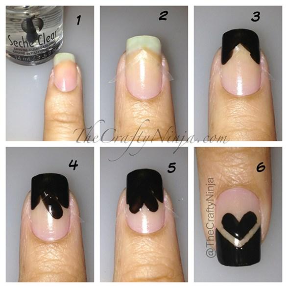 Nail Art Using Painters Tape: Cross Heart Nails