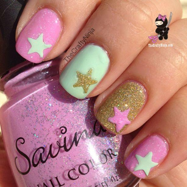 Star Mint Pink Nails