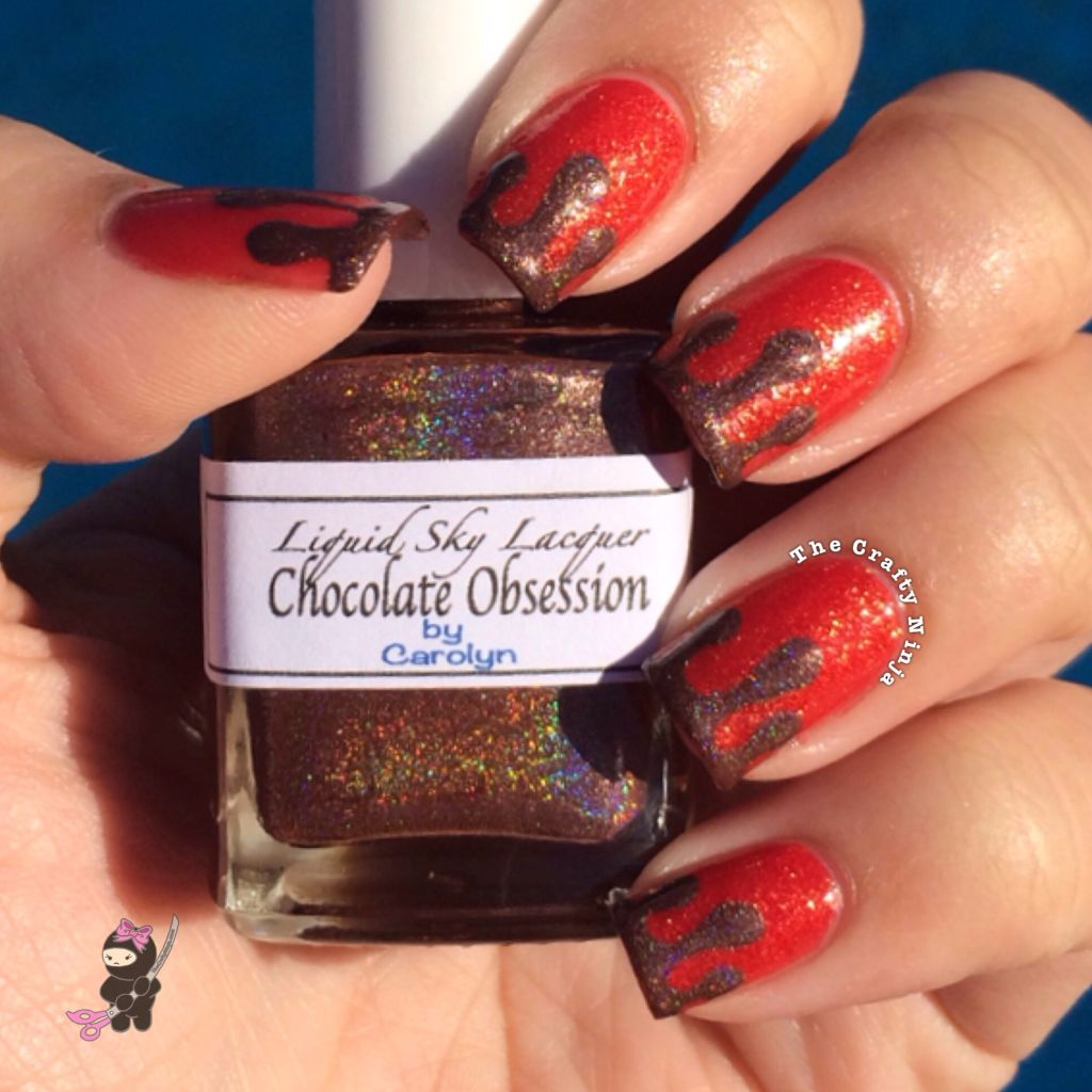 chocolate covered strawberry nails