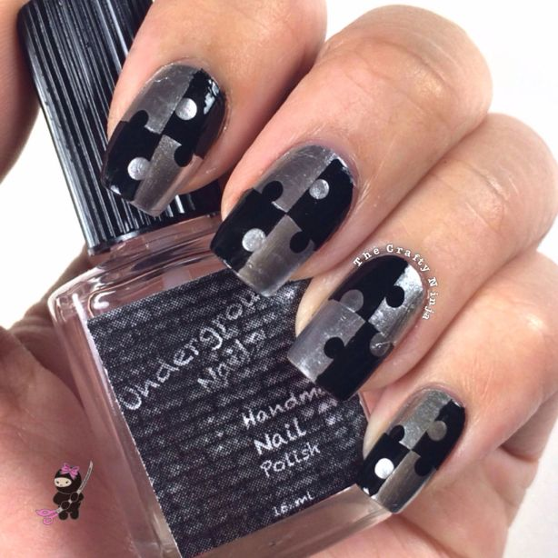 Jigsaw Puzzle Nails | The Crafty Ninja