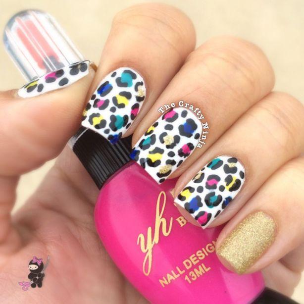 Rainbow Cheetah Nails