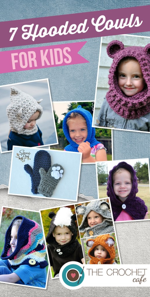 7 Hooded Cowls for Kids by thecrochetcafe.com