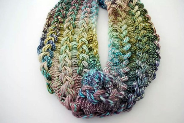 Braided Hairpin Lace Infinity Scarf by B.hooked Crochet