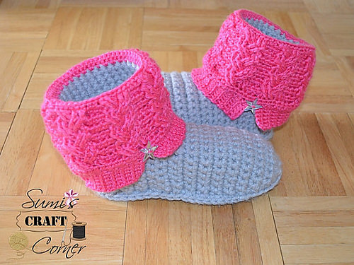 Kids Kickin' Cables Slipper Boots by A Crocheted Simplicity copy