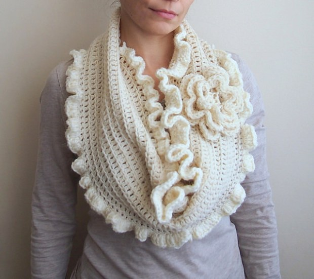 Oversized Flower Ruffles Infinity Scarf by Accessorise