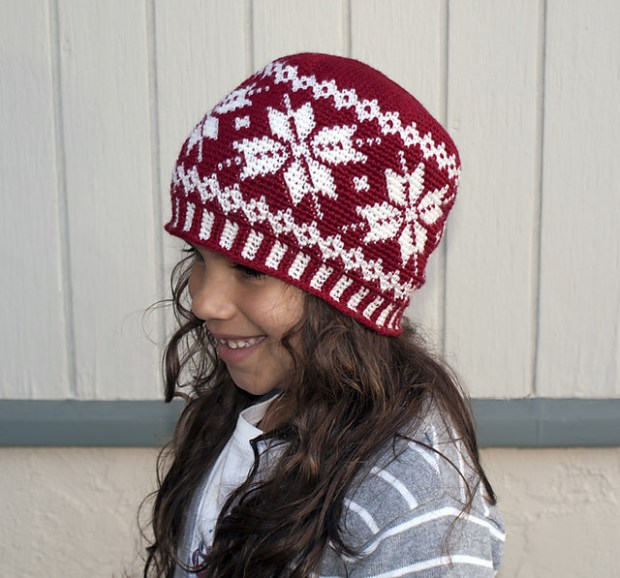All Ages Frozen Snowflake Beanie by Crochet Ever After