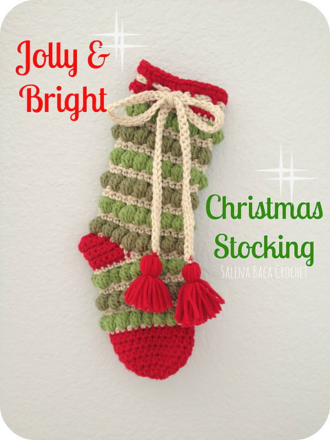 Jolly & Bright Christmas Stocking by Salena Baca Crochet