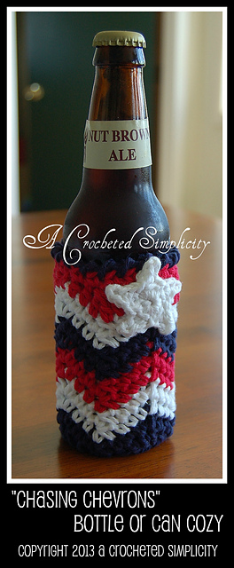 Chasing Chevrons Glass Bottle or Soda Can Cozy by Jennifer Pionk