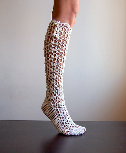 Knee high lace socks slippers by Accessorise
