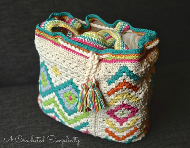 Boho Chic Mosaic Tote Bag by Jennifer Pionk