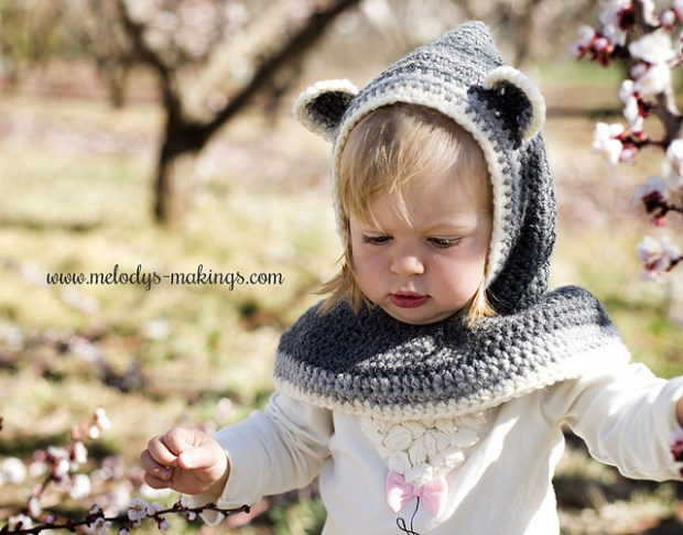 Rustic Raccoon Hooded Cowl by Melody Rogers -Melodys Makings