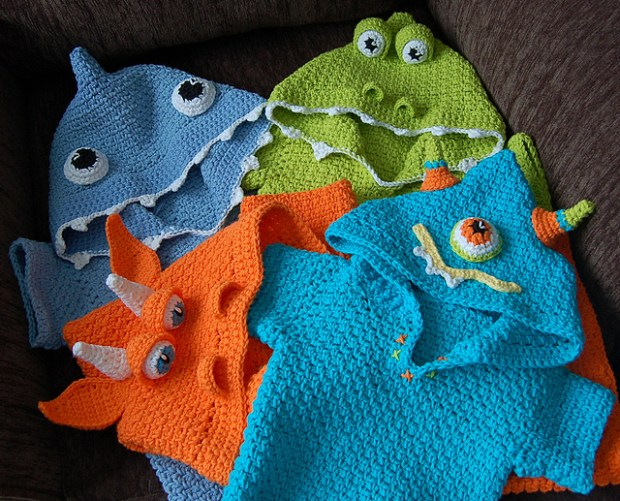 Friendly Lil' Monsters Poncho Swim Cover-Ups by Jennifer Pionk