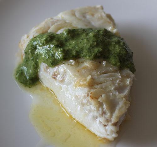cod with cilantro walnut pesto
