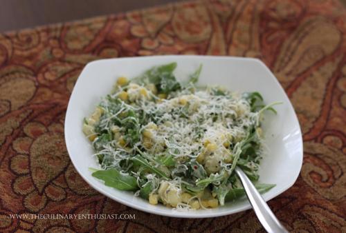 sweet corn arugula gnocchi