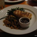 Grilled sea bass with garlic ginger soy
