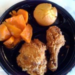 2-piece Fried Chicken, Cornbread, and a side of Candied Yams