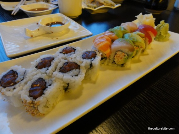 Sushi Raw Rainbow Roll Spicy Tuna