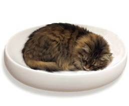 little cat design ceramic cat bed