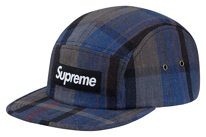 Supreme plaid linen camp caps 004