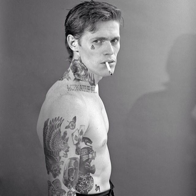 Willem Dafoe With Tattoos By Artist Cheyenne Randall