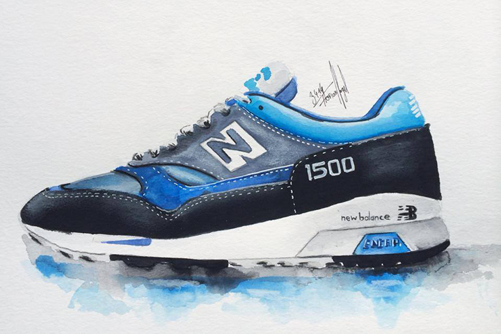New Balance sneaker watercolour painting by Achildcolor 003