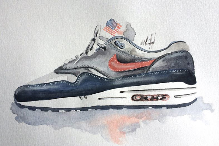 Nike Air Max 1 sneaker watercolour painting by Achildcolor 004