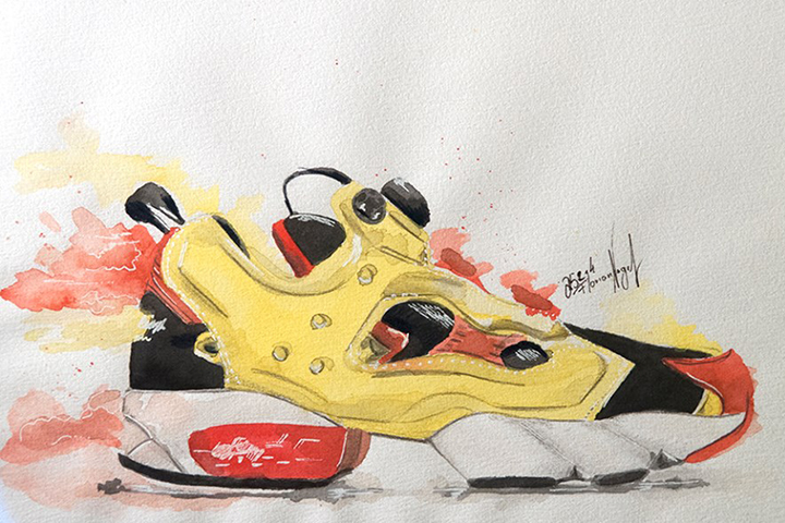 Reebok Pump Fury sneaker watercolour painting by Achildcolor 001