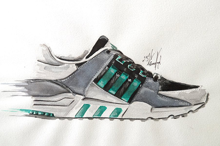 adidas Originals EQT sneaker watercolour painting by Achildcolor 001