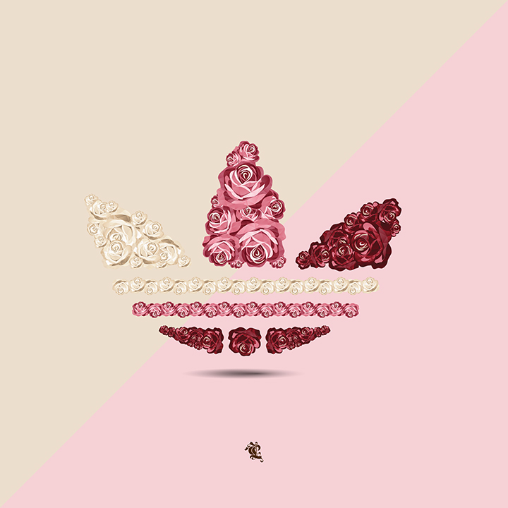 Floral sportswear logo illustrations by Careaux for The Daily Street adidas Originals