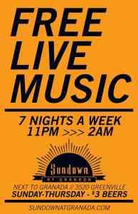 Sundown Announces Free Live Shows