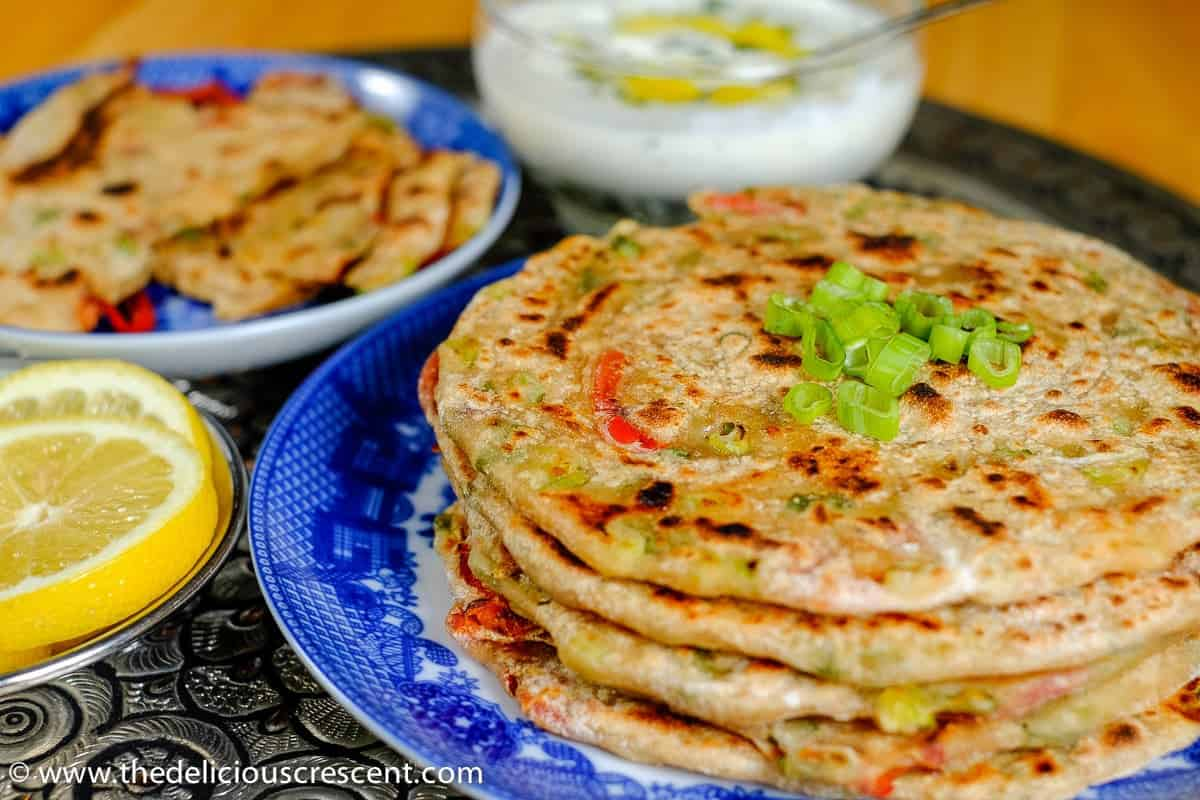 Cheesy and Peppery Green Onion Paratha