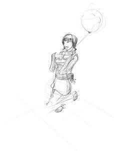 girl balloon walking
