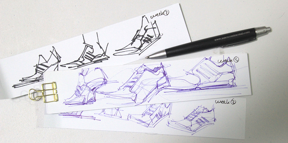 Adidas sneaker ball point pen design sketching the design sketchbook Chou-Tac Chung