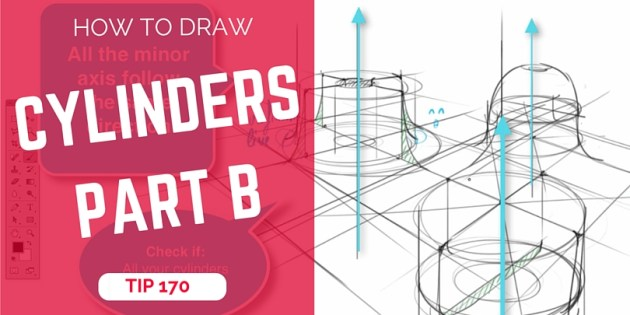 TIP 170 How to draw multiple cylinders in perspective - Part B - The design sketchbook - Product and Industrial design sketching tutorial