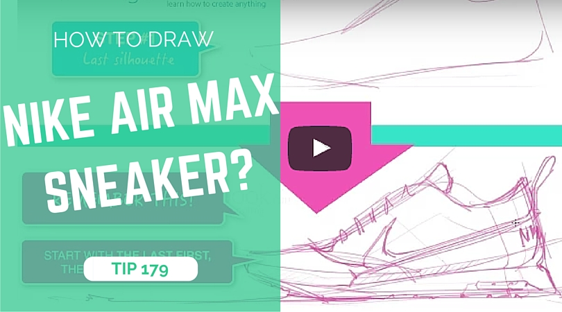 TIP 179 How to draw Nike Air Max sneaker - the design sketchbook - product and industrial design sketching tutorial