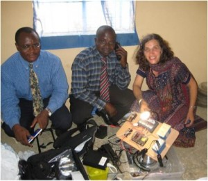 Laura Introducing the first solar suitcase to Nigerian colleagues