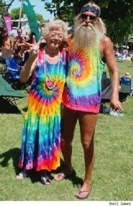 Old hippies, in rainbow colors