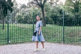 blue skirt and top parosh alberto guardiani shoes anja tufina