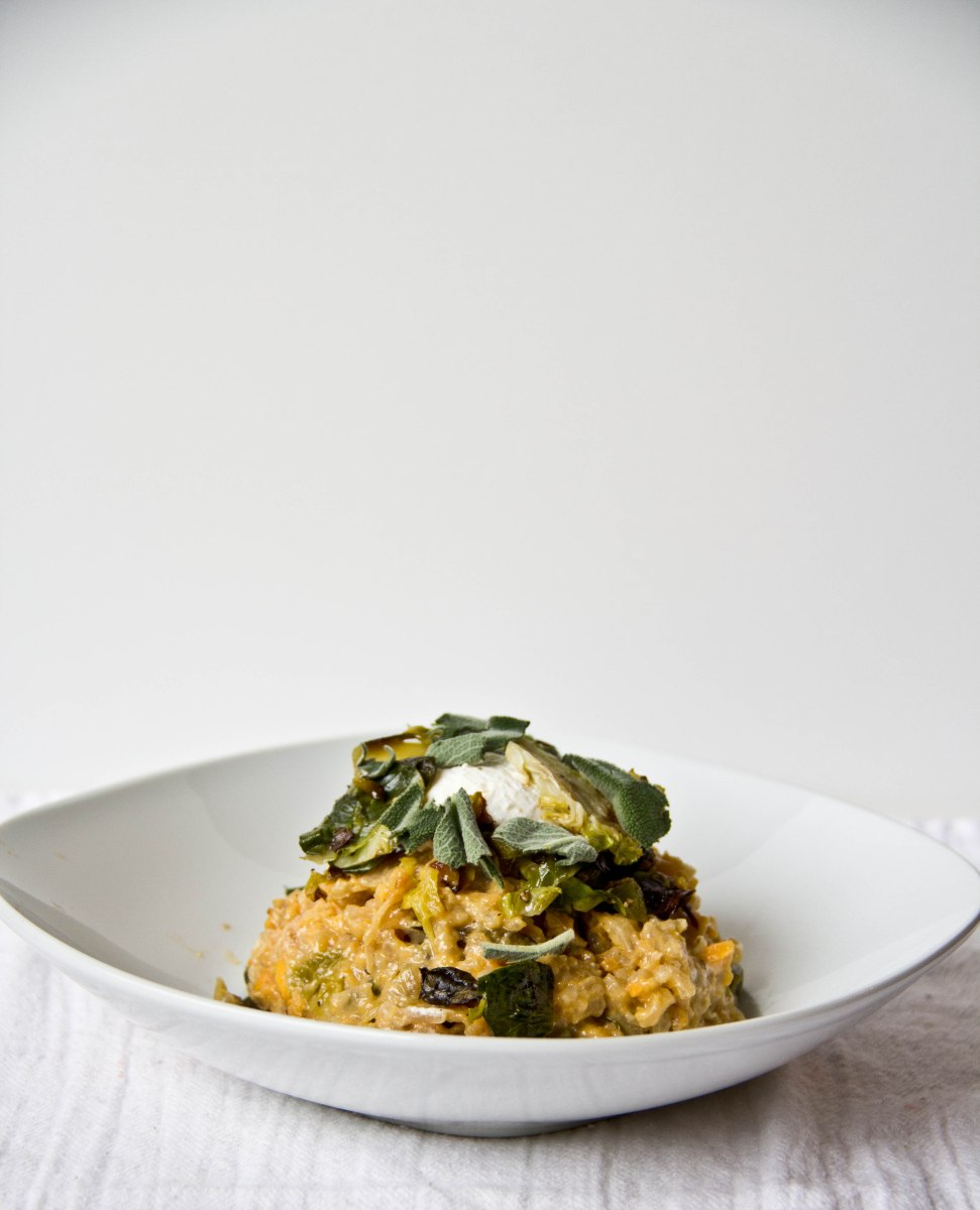 Sweet Potato Risotto with Roasted Brussel Sprouts