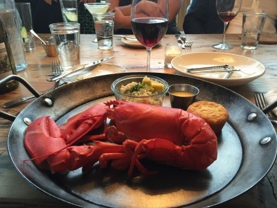 Sunday evening dinner with the sales team: What's for dinner at Scales Restaurant? Lobster, of course.