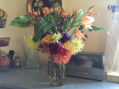 Alstroemeria is still going strong for this mid-July bouquet.