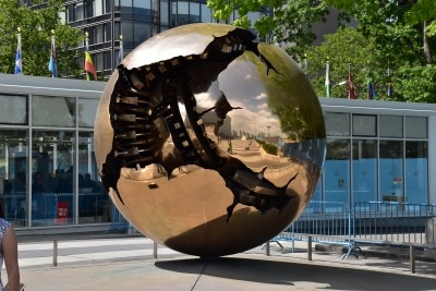 A sphere, a gift from Italy to the UN, graces the courtyard after security clearance (photo by David).