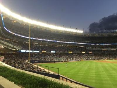 Yankee Stadium all lit up.